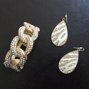 Costume Rhinestone earrings and hinge bracelet